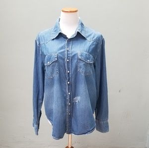 One Teaspoon Distressed Western Chambray Shirt